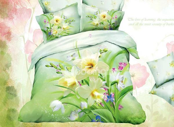 Fresh Charming Flowers Print 4-Piece Cotton Duvet Cover Sets