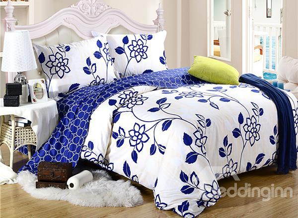 Top Class Blue Floral Pattern 4-Piece Cotton Duvet Cover Sets