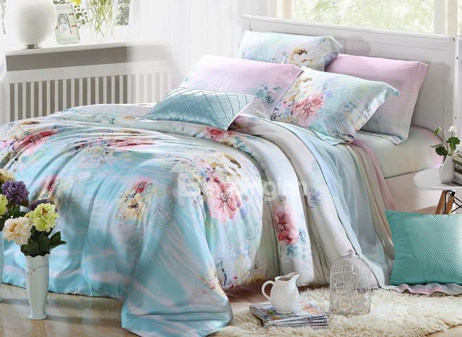 Comfortable Luxurious Floral Patterns 4 Pieces Tencel Bedding Sets