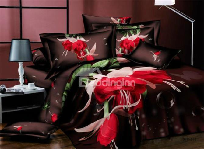 New Arrival 100%Cotton Red Flower Matching Green Leaf Reactive Print 4 Piece Bedding Sets