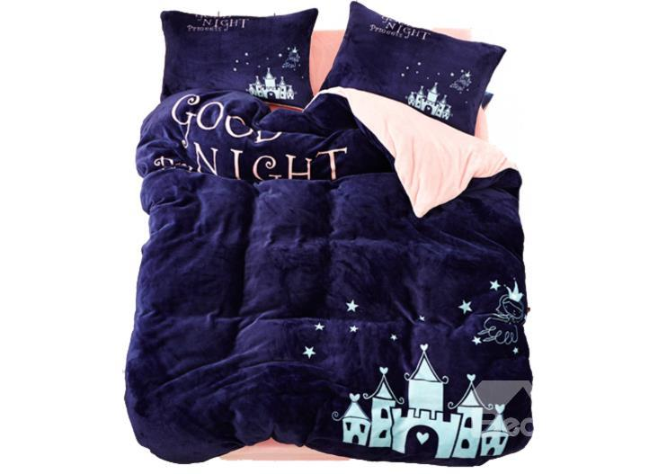 Dark Blue Angel And Castle Print 4-Piece Coral Fleece Duvet Cover Sets