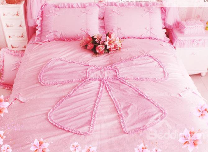 New Arrival Korean Style Pretty Bow Knot Duvet Cover Sets