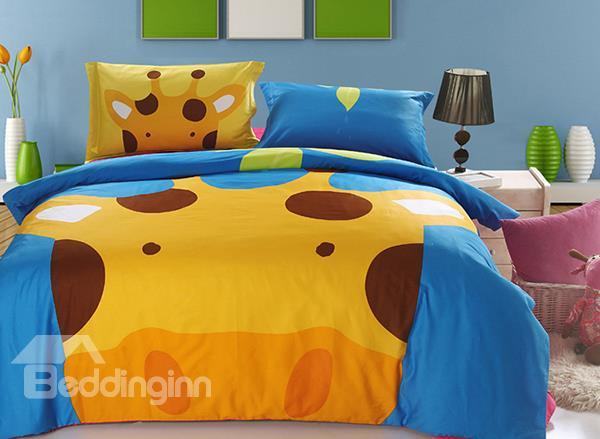 100%Cotton Giraffe Print 3-Piece Kids Duvet Cover Sets