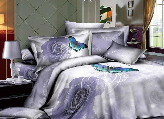 New Arrival Top Class 100%Cotton Butterfly Swirling Around Purple Rose Reactive Print 4 Piece Bedding Sets