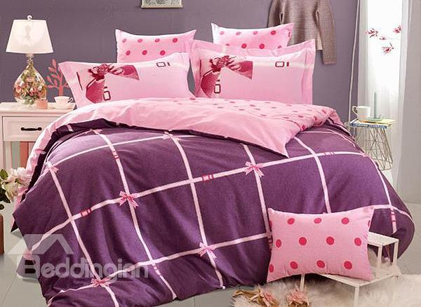 Bowknot Print 4-Piece 100%Cotton Princess Duvet Cover Sets