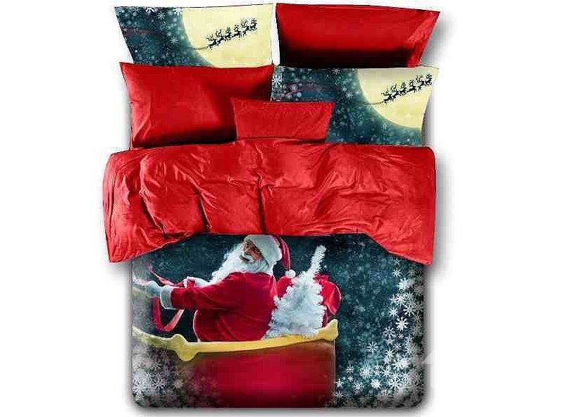 Christmas Gift Snowflake And Santa Claus Print 4-Piece Duvet Cover Sets