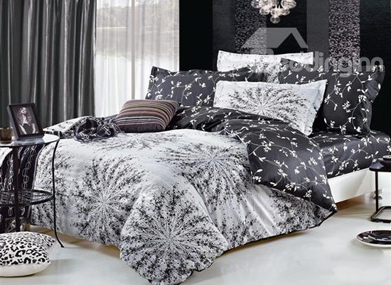 Top Class Pure Color Floral Pattern 4-Piece Cotton Duvet Cover Sets