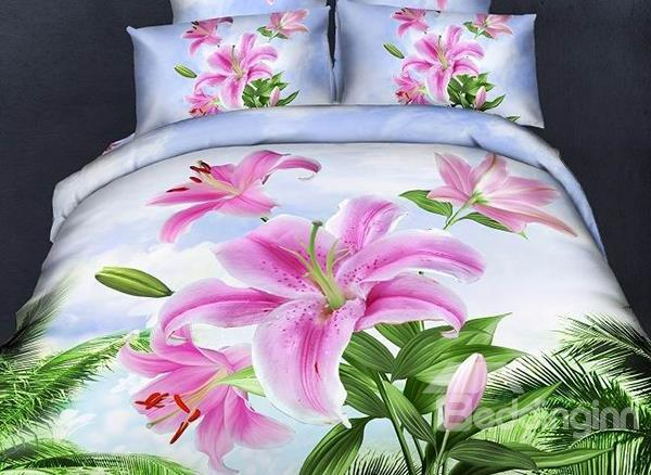 Amazing Fragrant Lily Flower Print 4-Piece Cotton Duvet Cover Sets