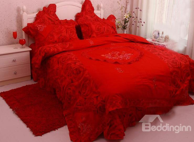 New Style Amazing Princess Rose Red Cotton 4-Piece Bedding Sets