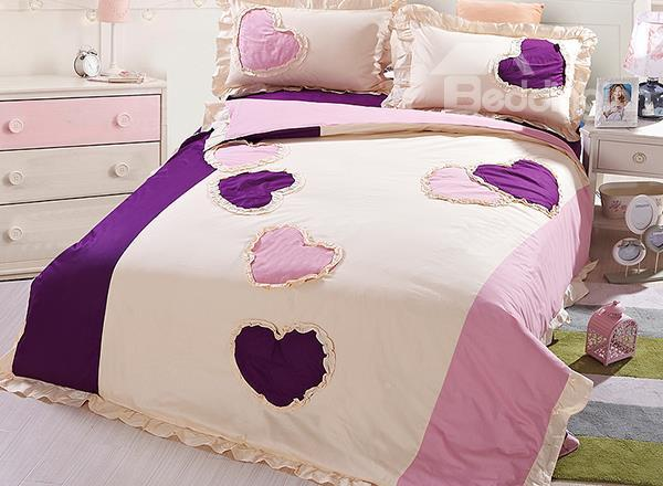 Hot Selling 100%Cotton Heart Embroidery 4-Piece Duvet Cover Sets
