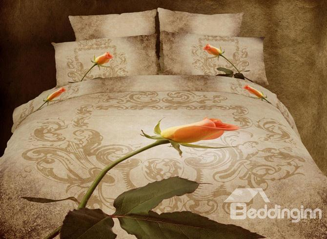 Graceful 4 Piece Floral Print Whole Cotton Duvet Cover Bedding Sets 10489218)
