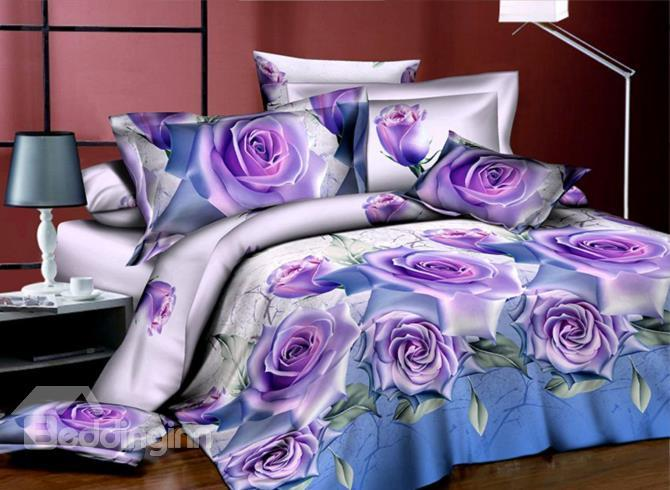 Very Beautiful Purple Roses Print 4-Piece 3d Polyester Duvet Cover Sets