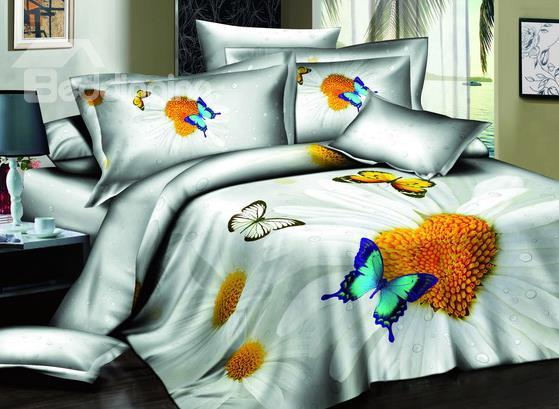 Hot Sell Romantic Love Of Butterfly And Heart Of Flowers 4 Pieces Bedding Sets