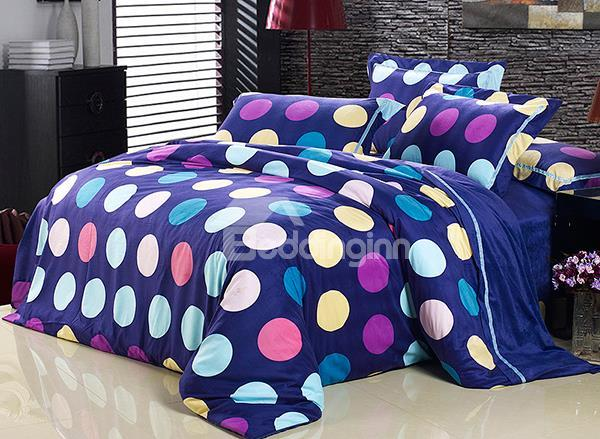Contemporary Colorful Dot Pattern 4-Piece Flannel Duvet Cover Sets