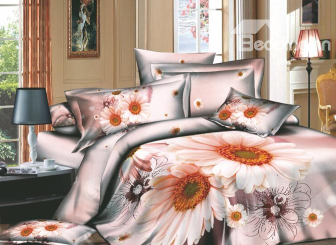 Dreamlike Pink Flowers And Wash Printed 4 Piece Cotton Duvet Cover Sets 10486327)
