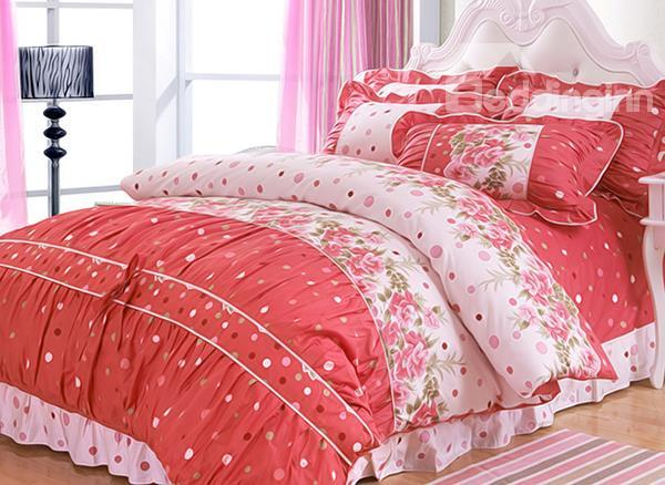 Beautiful Floral Pattern 4-Piece Cotton Princess Duvet Cover Sets