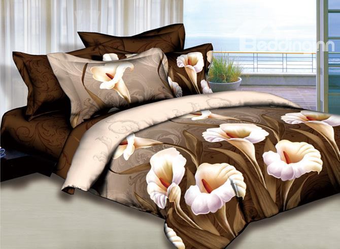 Unique Calla Lily Printed 4 Piece Camel Bed Sheets Sets 10489836)