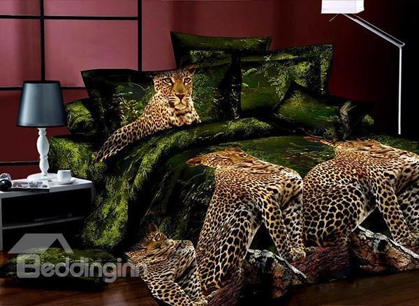 Powerful And Smart Cheetah Print 4-Piece Polyester Duvet Cover Sets