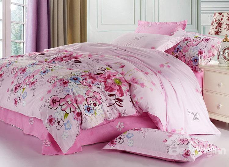 Best Selling 4 Piece Romantic Pink Floral Printed Bedding Sets
