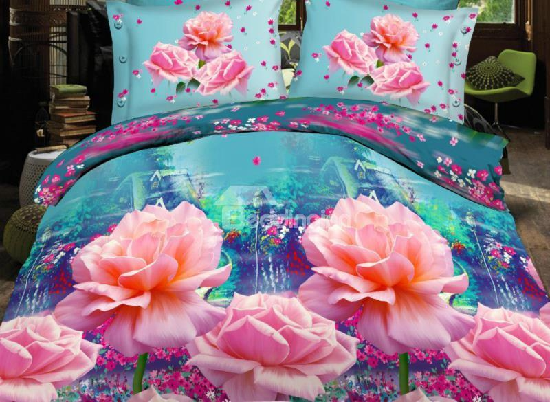 Beartiful Pink Rose And Flower Fairy Valley Print 4-Piece Polyester Duvet Cover Sets