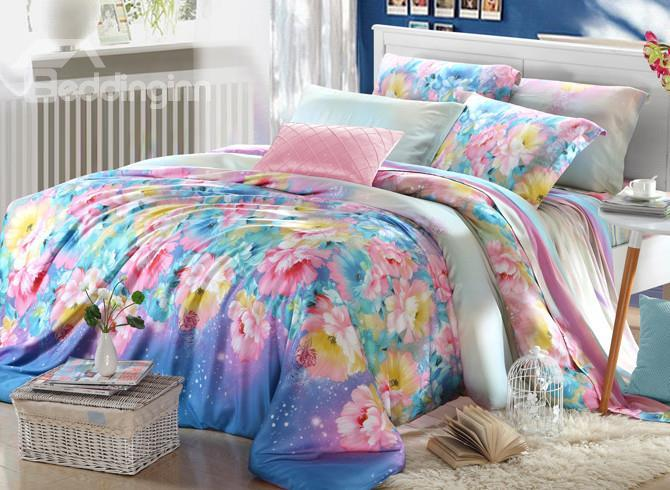 High Quality Bright Colors Floral 4 Pieces Tencel Bedding Sets