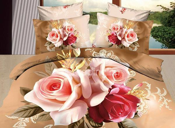 New Arrival 100%Cotton Luxurious Flower Print 4 Piece Bedding Sets