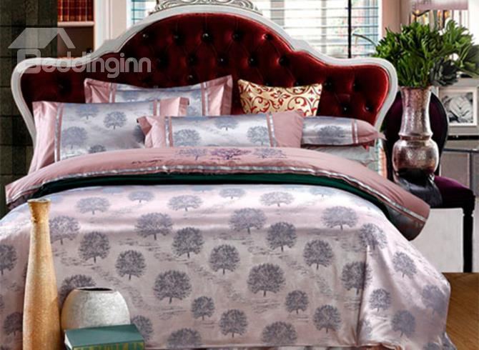 Luxury Monochromatic Tree Print 4-Piece Duvet Cover Sets