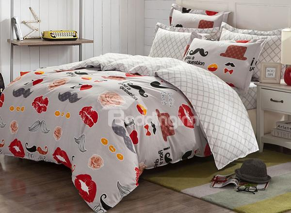 Sexy Lips And Moustache Print 4-Piece Cotton Duvet Cover