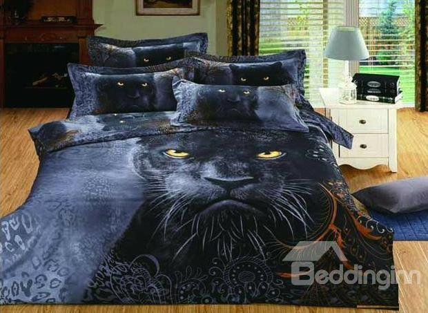 New Arrival Black Panther Print 4 Piece Bedding Sets Duvet Cover Sets