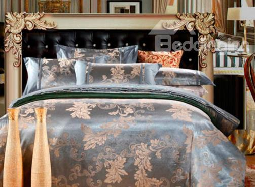 Gorgeous Leaves Print Satin Jacquard Soft Cotton 4-Piece Duvet Cover Sets