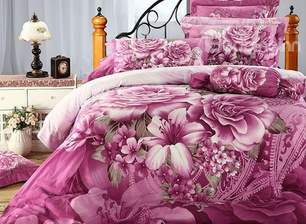 Top Class Pink Flower Print 4-Piece Cotton Duvet Cover Sets