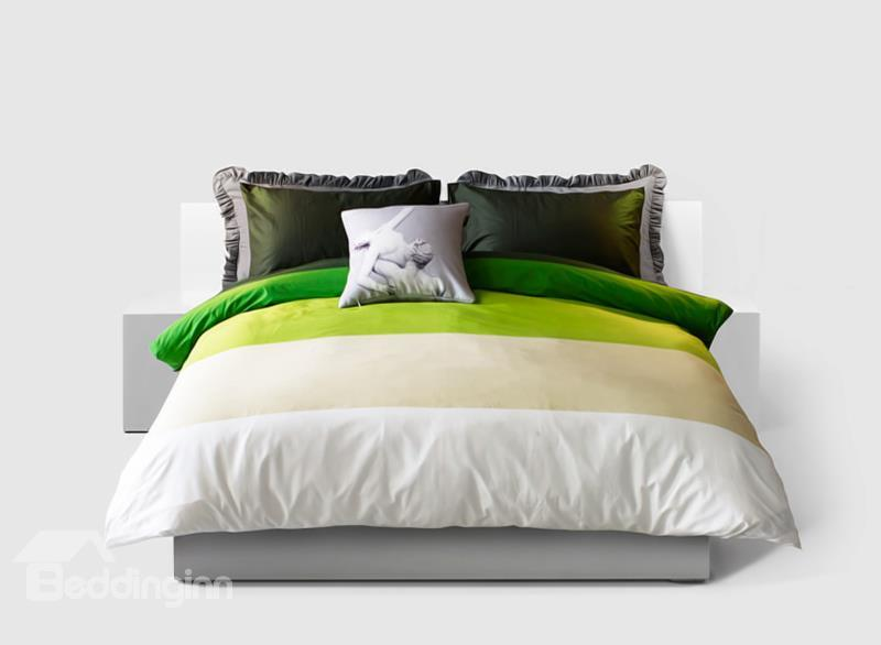 Modern Bright Green And White 4-Piece Cotton Duvet Cover Sets