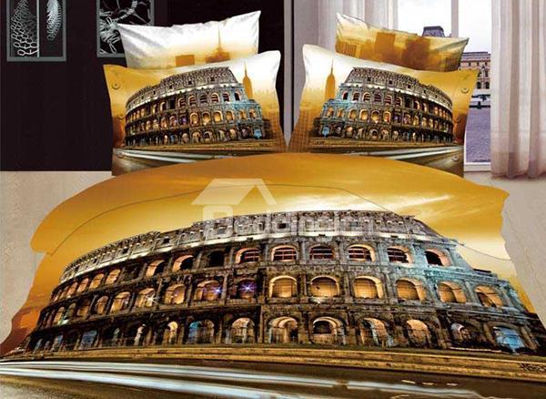 New Arrival Beautiful Rome Colosseum Scenery Print 4 Piece Bedding Sets