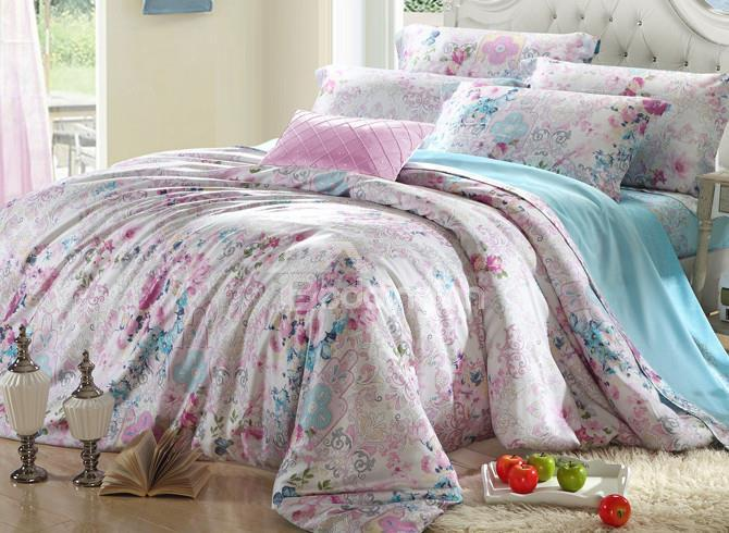 High Quality Elegant Floral 4 Pieces Tencel Bedding Sets