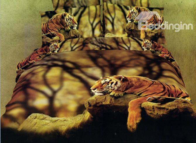 Docile Tiger 4 Piece Cotton Bedding Sets With Printing 10489970)