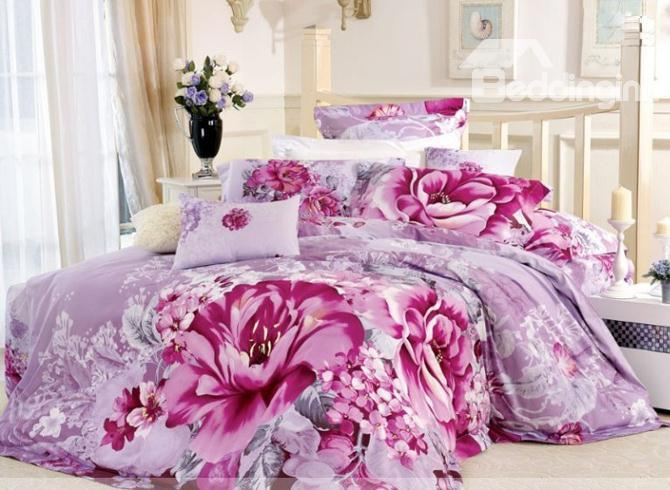 Purple 4 Piece Cotton Bedding Sets With Aesthete Pink Large Flowers 10486313)