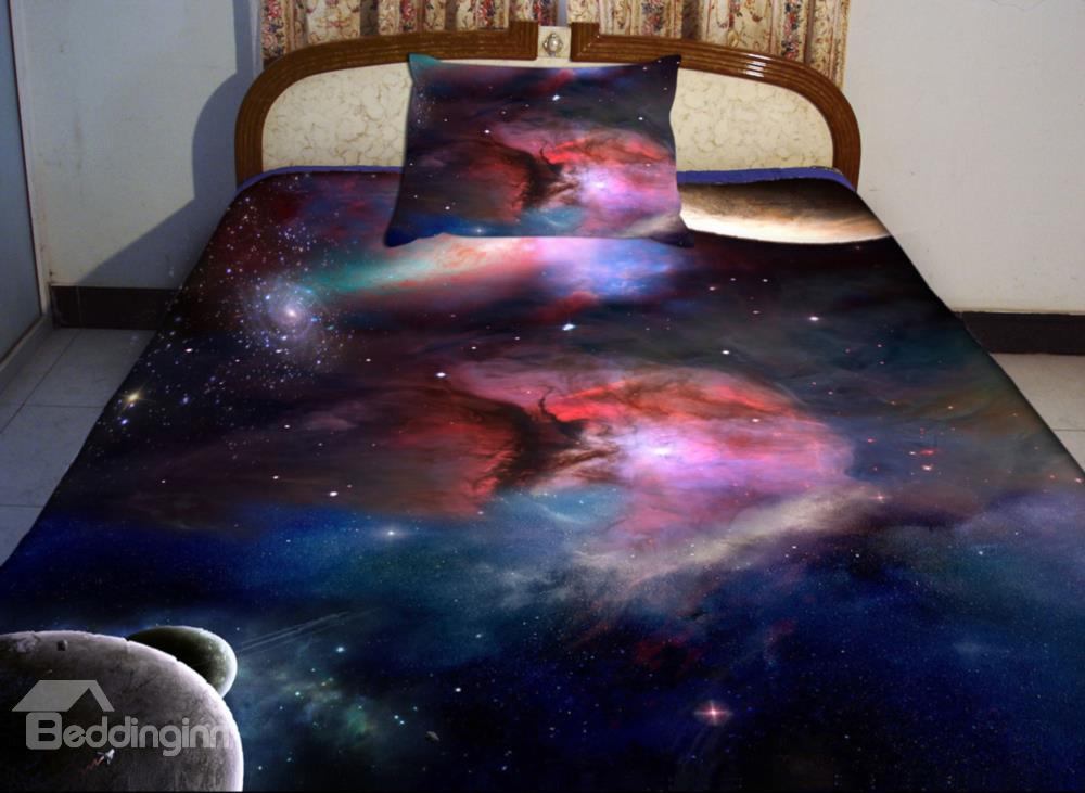 Red Nebula With Dark Blue Background Print 4-Piece Duvet Cover Sets