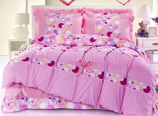 Pretty Colorful Bubble Print 4-Piece Duvet Cover