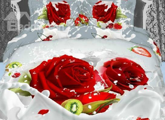 Luxury Red Rose 3d Print 4 Piece Bedding Sets/Duvet Cover Sets