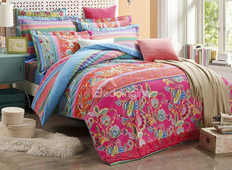 Noble Flower Embroidery Pattern 4-Piece Cotton Duvet Cover Sets