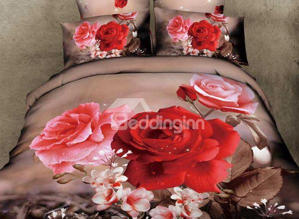 New Arrival Beautiful Red And Pink Flowers Print 4 Piece Bedding Sets