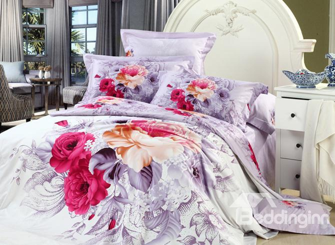 Sweet Purple And Red Flowers Printed 4 Piece Girls Bedding Sets 10489845)