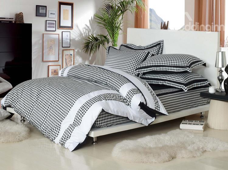 High Quality Elegant Black And White Checks Print Bedding Sets With Fitted Sheet