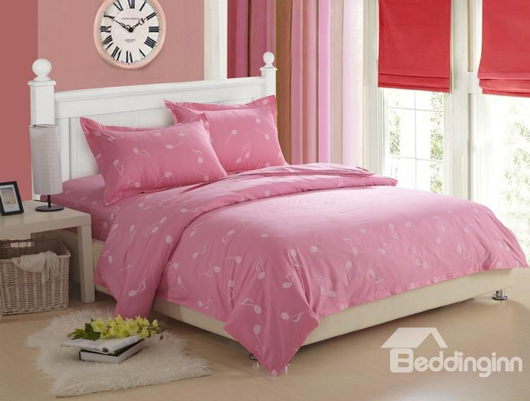 Sweet 100%Cotton Music Note Print Pink 4 Piece Fitted Sheet Bedding Sets