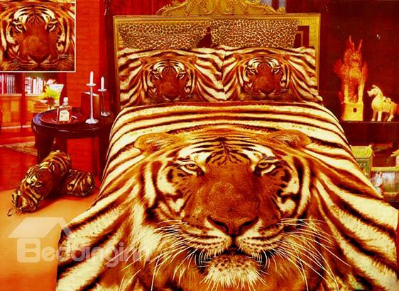 Top Grade 4 Piece Fierce Tiger Print Cotton Duvet Cover Bedding Sets 10489894)