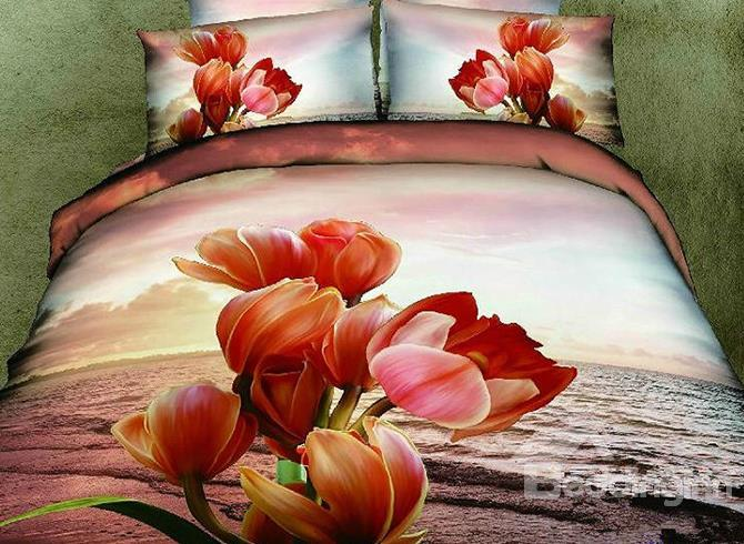 3d 100%Cotton Sunset Flower 4 Piece Bedding Sets/Duvet Cover Sets