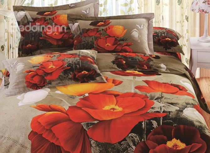 Top Class White Butterfly And Orange Flowers Print 3d Duvet Cover Sets