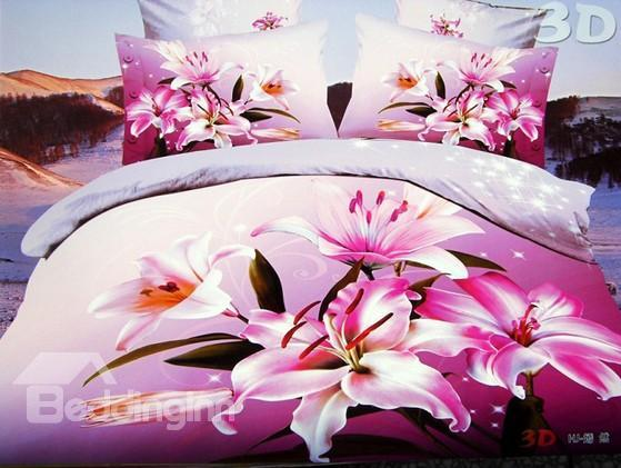 New Arrival Pink Lilies Flower Print 4 Piece Polyester Bedding Sets