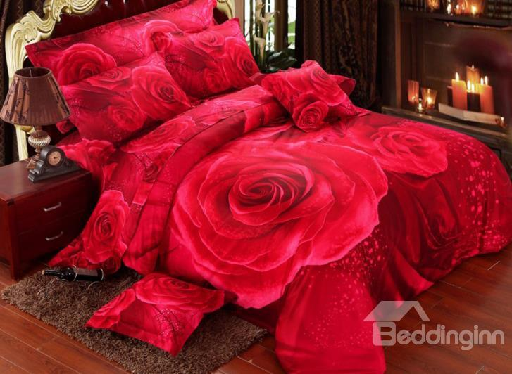 Romantic Big Red Rose Print 4-Piece Wedding Duvet Cover Sets