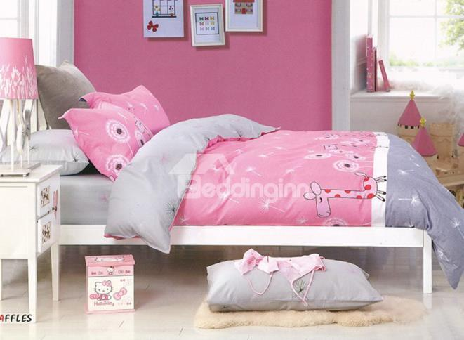 Pretty Pink Deerlet And Dandelion Print 4-Piece Cotton Duvet Cover Sets